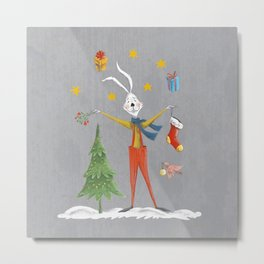Rabbit celebrating Christmas Metal Print