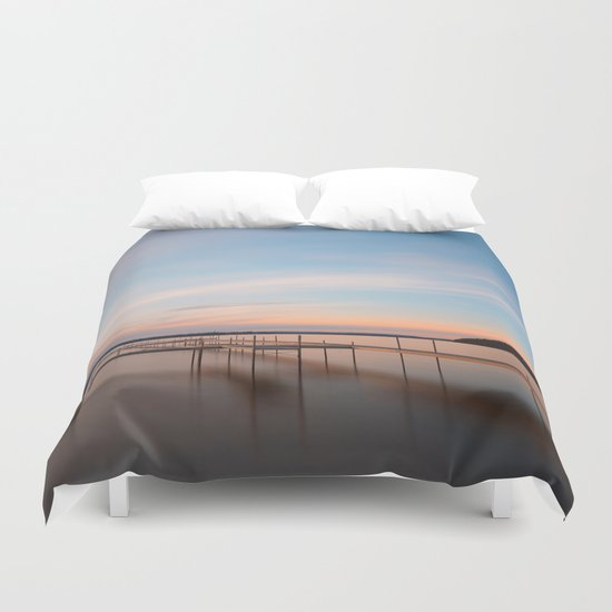 Saratoga Lake Sunset Duvet Cover