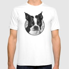 Boston Terrier Head Shot MEDIUM White Mens Fitted Tee