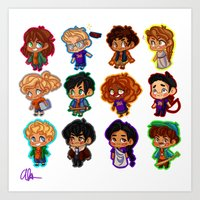percy jackson Art Prints featuring Chibis of Olympus by chubunu