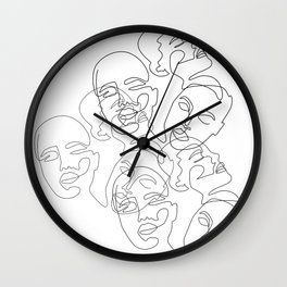 Lined Face Sketches Wall Clock