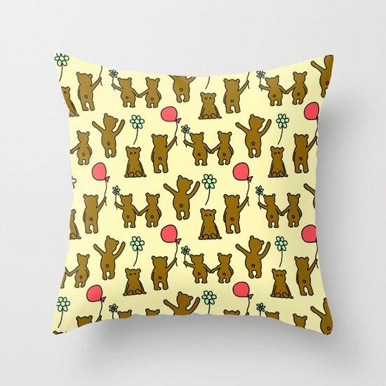 Happy Teddies  Throw Pillow
