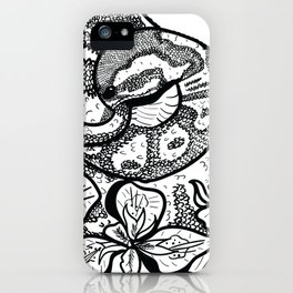 Python and iris flowers iPhone Case