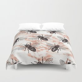 Bees on rose gold marble Duvet Cover