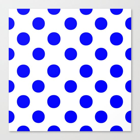 Polka Dots (Blue/White) Canvas Print