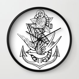 Anchor Swallow & Rose Old School Tattoo Style Wall Clock