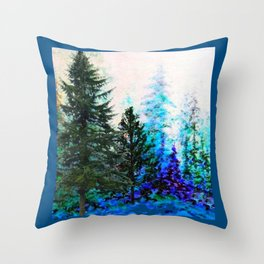 TEAL COLOR  MOUNTAIN  PINE FOREST LANDSCAPE Throw Pillow
