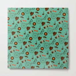 Colorful Hipster Elements Pattern on green Metal Print
