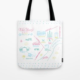 New Orleans, Louisiana Illustrated Calligraphy Map Tote Bag