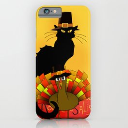 Thanksgiving Le Chat Noir With Turkey Pilgrim iPhone Case