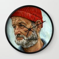 steve zissou Wall Clocks featuring Bill Murray / Steve Zissou by Heather Buchanan