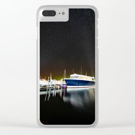 Boats under the milky way Clear iPhone Case