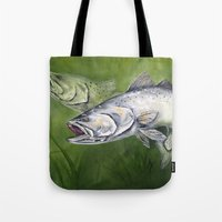 trout Tote Bags featuring Speckled Trout by Annette Taunton