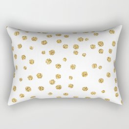 Gold glitter confetti on white - Metal gold dots Rectangular Pillow