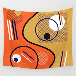 Opposing Sides - Abstract, orange and mustard, geometric, contrasting design Wall Tapestry