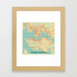 Hong Kong Map Retro Framed Art Print
