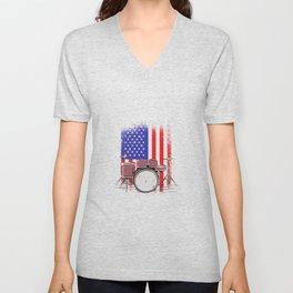 Drummer america flag usa Unisex V-Neck