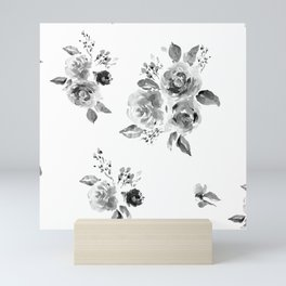 Black and White Floral Mini Art Print