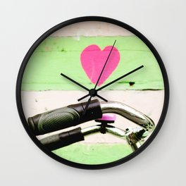 pink bicycle in amsterdam Wall Clock