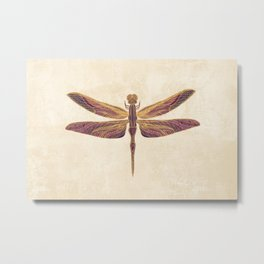 Art Nouveau Dragonfly In Purple Metal Print