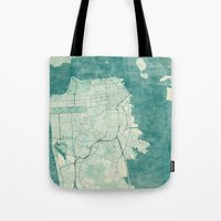 san francisco map Tote Bags featuring San Francisco Map Blue Vintage  by City Art Posters