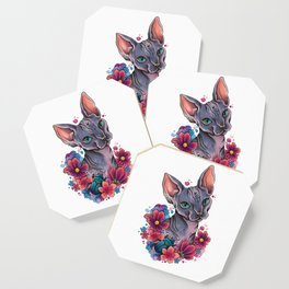 Neo Traditional Sphynx cat and flowers Coaster