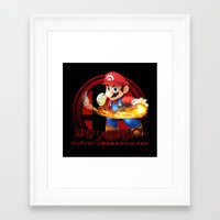 super smash bros Framed Art Prints featuring Mario - Super Smash Bros. by Donkey Inferno