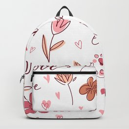 Love Pattern Floral Decoration Heart Backpack