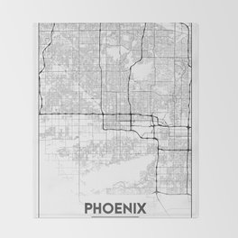 Minimal City Maps - Map Of Phoenix, Arizona, United States Throw Blanket