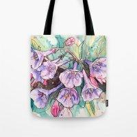 virginia Tote Bags featuring virginia bluebells by Beth Jorgensen