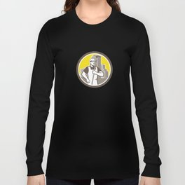 Window Cleaner Worker Holding Squeegee Circle Long Sleeve T-shirt