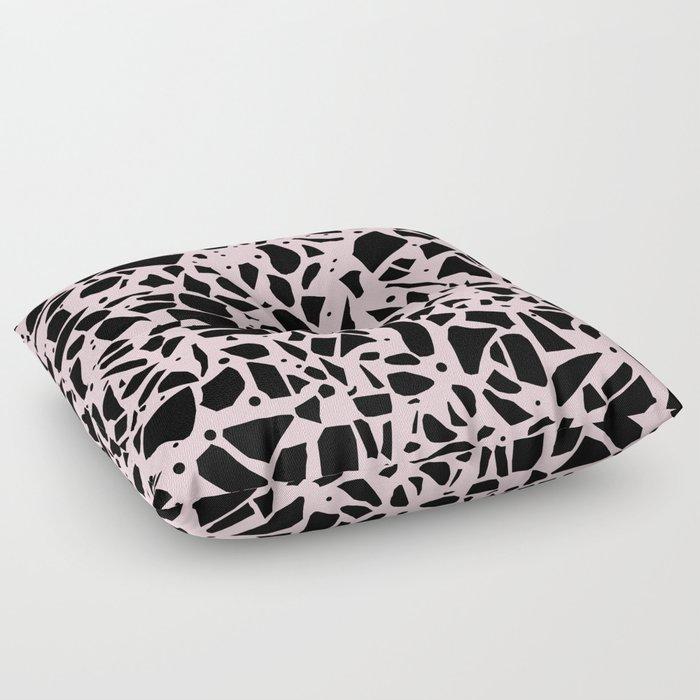 Terrazzo Spot Black on Blush Floor Pillow