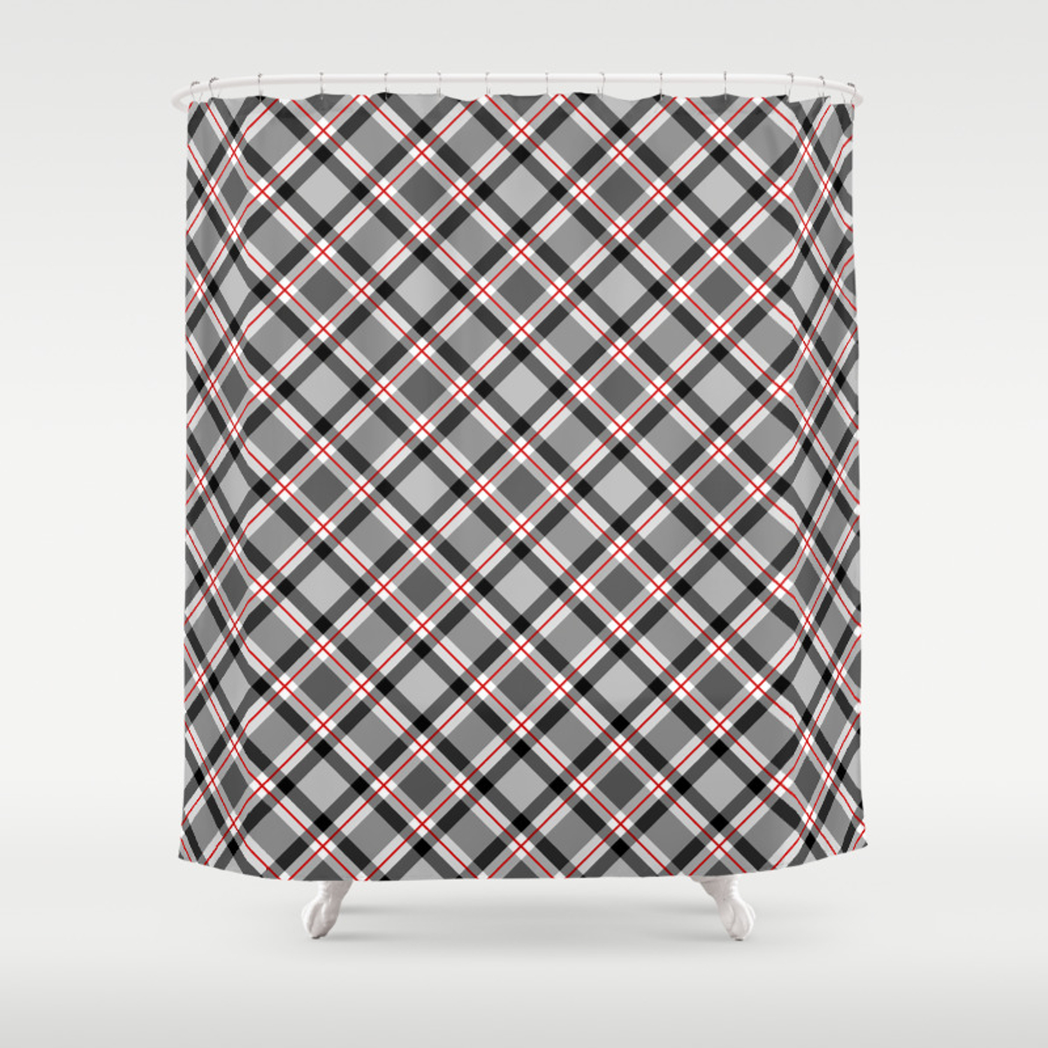 Large Modern Plaid Black White Gray And Red Shower Curtain