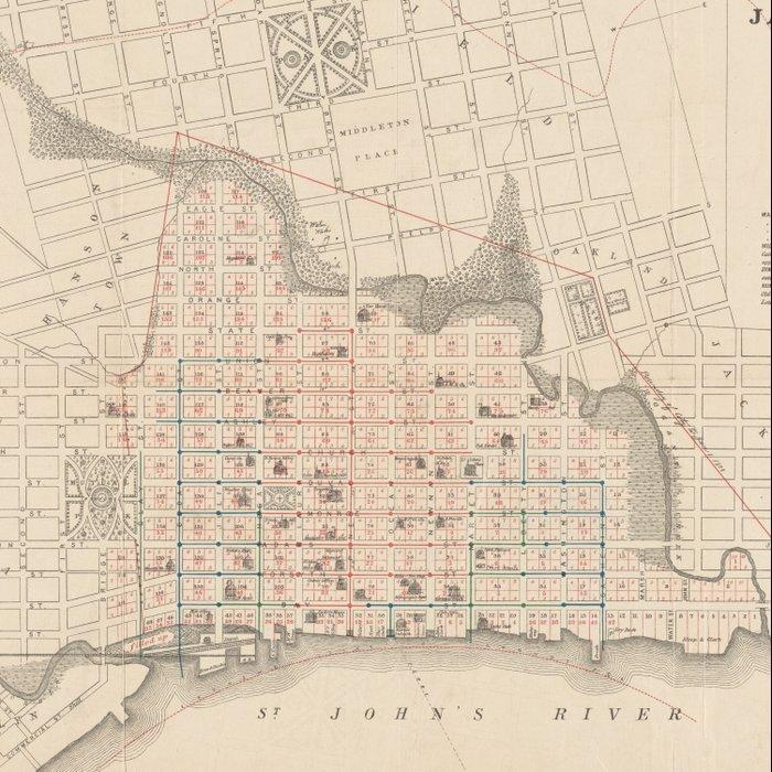 Vintage Map Of Jacksonville Fl 1878 Comforters By