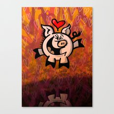 Pig Falling Head over Heels in Love Canvas Print