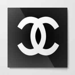 Black Double C Metal Print