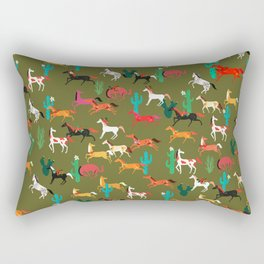 wild horses and flowers pattern Rectangular Pillow