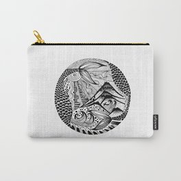 Ink drawing Zodiac Pisces Carry-All Pouch