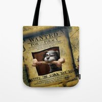monkey island Tote Bags featuring Monkey Island - WANTED! Spiffy, the Scumm Bar dog by Sberla