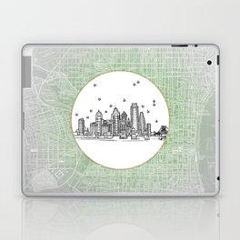 Philadelphia, Pennsylvania City Skyline Illustration Drawing Laptop & iPad Skin