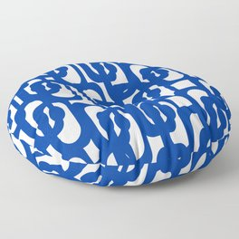 Bright Blue and White Mid-century Modern Loop Pattern  Floor Pillow