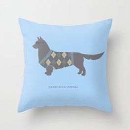 Cardigan Corgi Throw Pillow