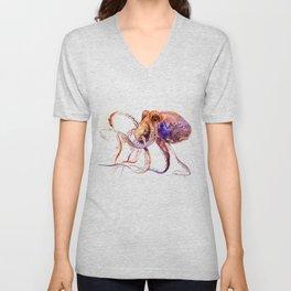 Octopus, orange purple aquatic animal design Unisex V-Neck