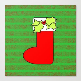 Christmas stocking with decorative holly leaves and mistletoe Canvas Print