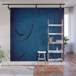Navy Blue - Jackson Pollock Style Art - Abstract - Expressionism - Corbin Henry Wall Mural