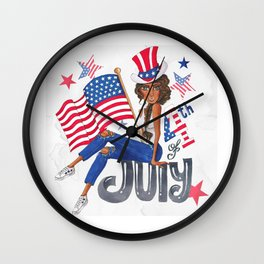 American USA Flag Patriotic July 4th Wall Clock