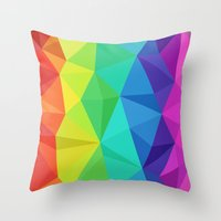 low poly Throw Pillows featuring rainbow low poly by tony tudor