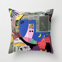 Pita snail and porch cat meet the ghost merchant Throw Pillow