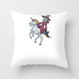 Witch Riding Unicorn, It's Show Time Funny Halloween Horror Scary Throw Pillow