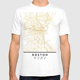 BOSTON MASSACHUSETTS CITY STREET MAP ART T-shirt